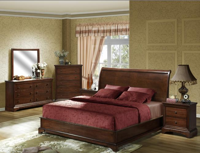 BEDROOM SET SLEIGH PLATFORM STYLE IN CHERRY NEW For Sale In Albany