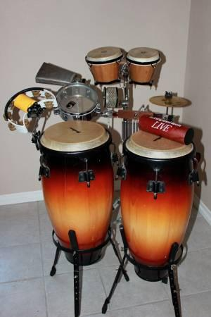 complete conga and percussion set for sale in redlands california classified. Black Bedroom Furniture Sets. Home Design Ideas