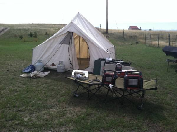 Complete hunting camp with canvas tent - $600