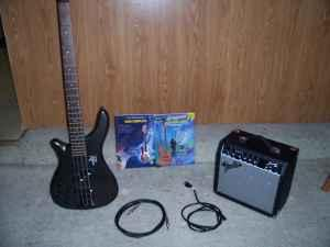 complete LEFT handed bass guitar set - $200 (o b o  Modesto)