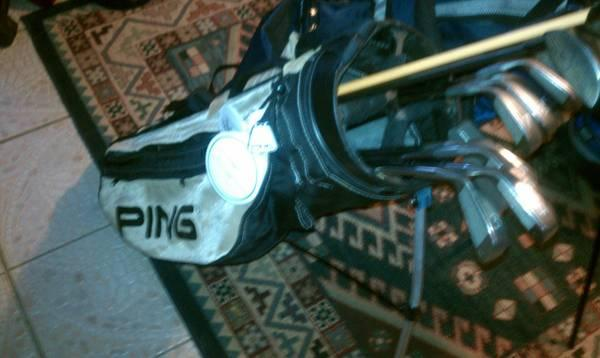 COMPLETE SET OF PING WOODS & PING EYE 2 RED DOT IRONS -