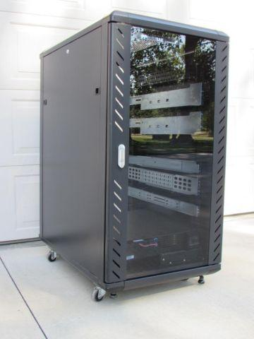 Computer Rack Cabinet with Glass Door & Casters