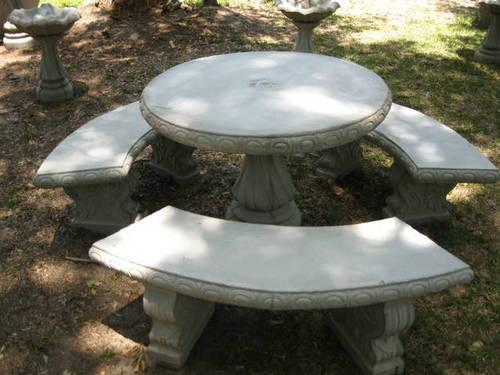 Concrete Cement Table W Three Benches For Sale In Clark
