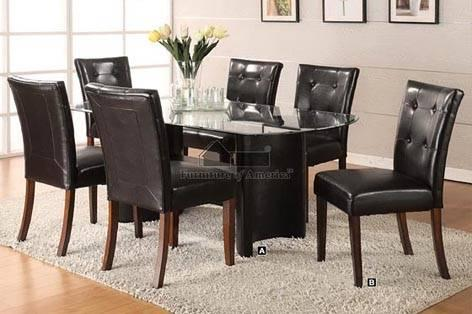 Contemporary Dining Table W Smooth Cracked Glass Insert