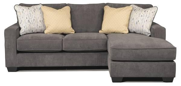 Contemporary Gray Sofa Chaise Sectional With Reversible