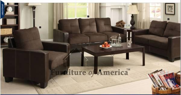 Contemporary Microfiber 2pc Sofa And Loveseat Available In