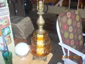 Cool Retro Glass Globe Lamp Amber Colored - $10 Easley, SC