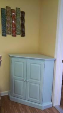 Corner TV Cabinet or Armoire Solid Wood -Pale Aqua