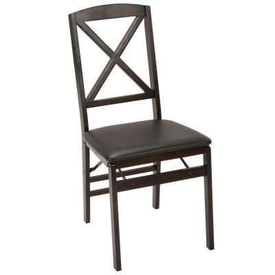Cosco Wood Folding Chair with Vinyl Seat and X-Back in Espresso 2-Pack