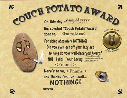 Couch Potato Award Personalized Certificate Framed Wall