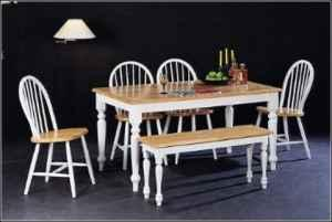 country butcher block oak white finish wood dining