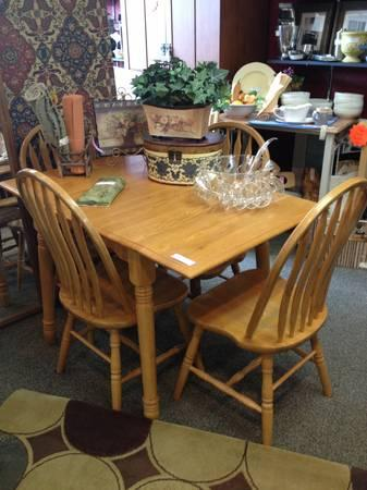 country kitchen or breakfast nook drop side table and four chairs for