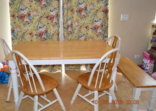 country kitchen table set with 4 chairs and bench seating for sale in huntley illinois. Black Bedroom Furniture Sets. Home Design Ideas