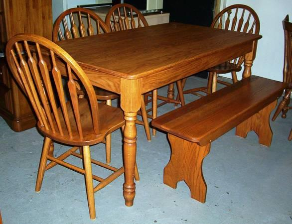 Country Style Oak Dining Set Table W Bench 4 Chairs For Sale In Bur