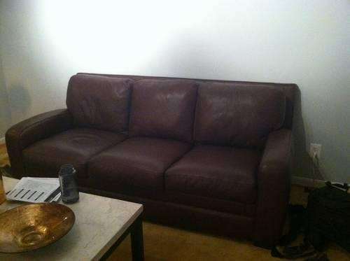 CRATE & BARREL dark brown leather sofa & recliner for Sale in ...