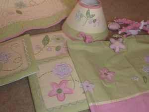 Crib Bedding Set for Girl + Accessories - $125 (Bailey)