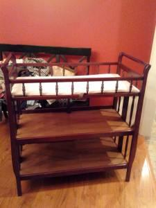 CRIB, ROCKING CHAIR & CHANGING TABLE SET - $200 (Olive