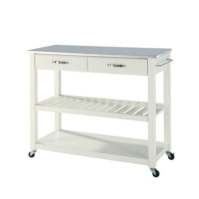 Crosley 42 In Stainless Steel Top Kitchen Island Cart With Optional Stool Storage In White For