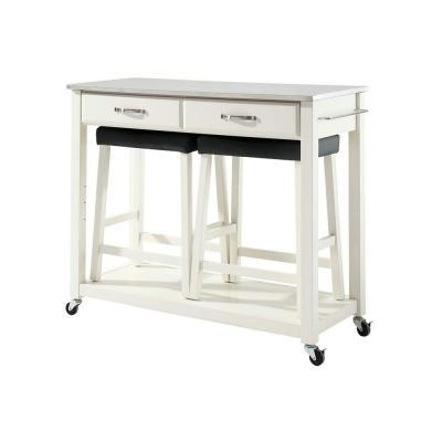 Crosley 42 In Stainless Steel Top Kitchen Island Cart With Two 24 In Upholstered Saddle Stools