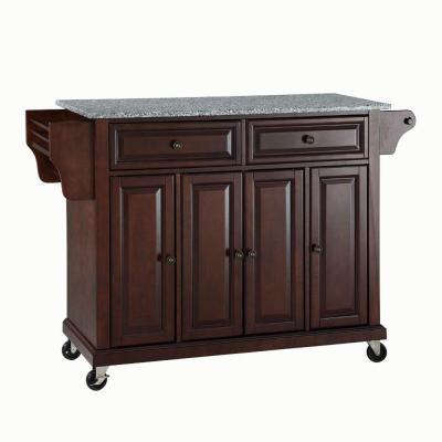 Crosley 52 In Solid Granite Top Kitchen Island Cart In Mahogany For Sale In Titusville Florida