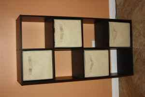 Cube bookshelf with 4 cloth bins - Target - (Malibu, CA) for