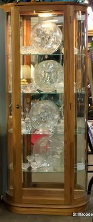 Curved Lighted Glass Door Curio Cabinet For Sale In