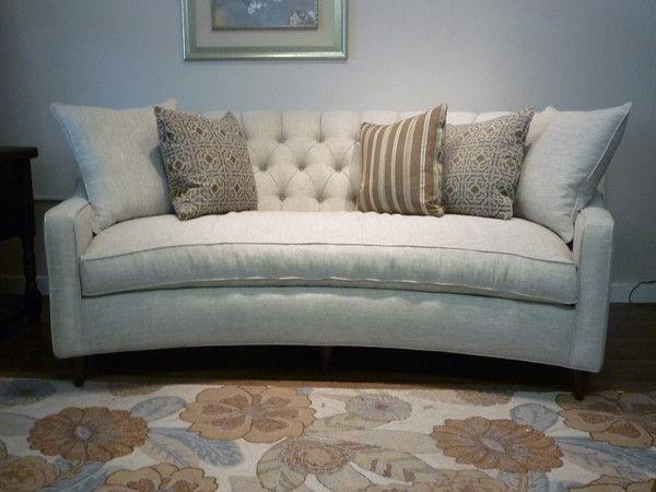 curved tufted apartment size sofa with down seat very