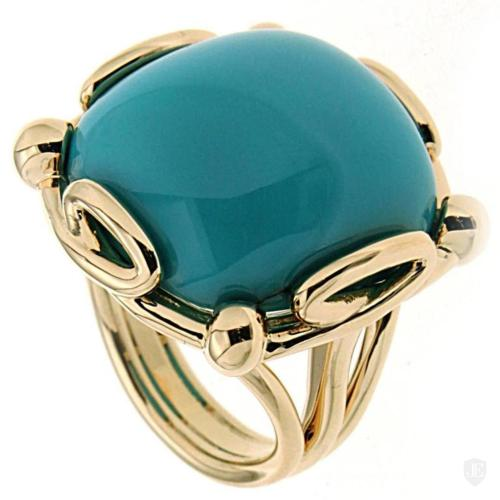 Cushion Turquoise Cabochon Ring in Gold