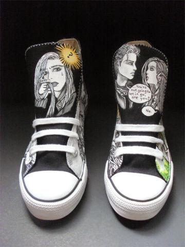 Custom Adult handpainted Hi tops Graphic Novel Inspired