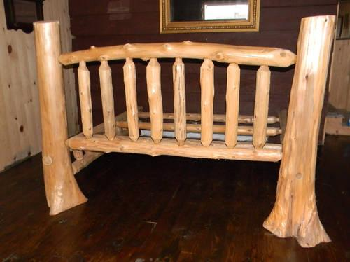 custom amish made cedar log king size bed frame tree stump posts for sale in gladwin michigan