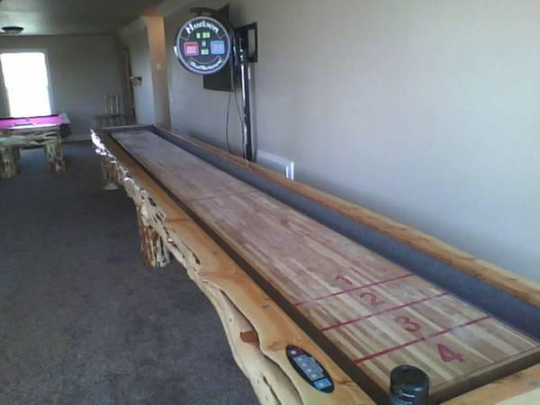 Custom Built Log Pool Table U0026 Shuffleboard Tables