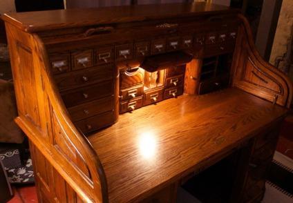 Custom Built Oak Rolltop Desk With Built In Lamp Secret Compartments For Sale In Chicago
