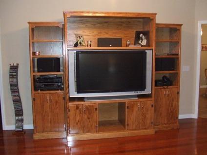 Custom Built Solid Oak Entertainment Center