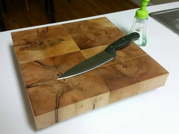 Custom Designer Oak Butchers Block Cutting Board 14x14x3.5 Rare - $99