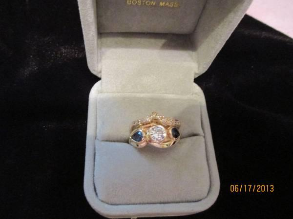 Custom Diamond and Saphire Ring - $3500