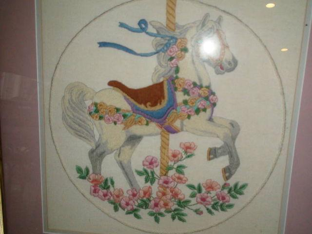 Custom framed needlepoint carousel horse double matted for Home decor 77429