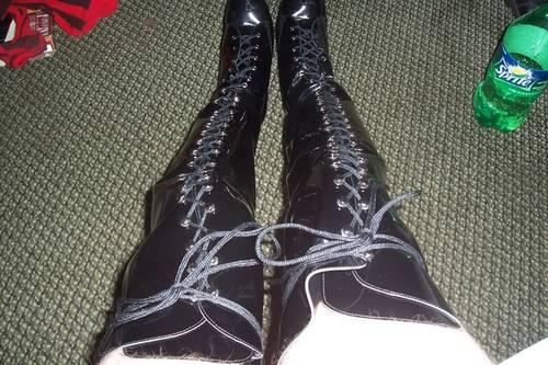 custom made s black leather thigh high renaissance