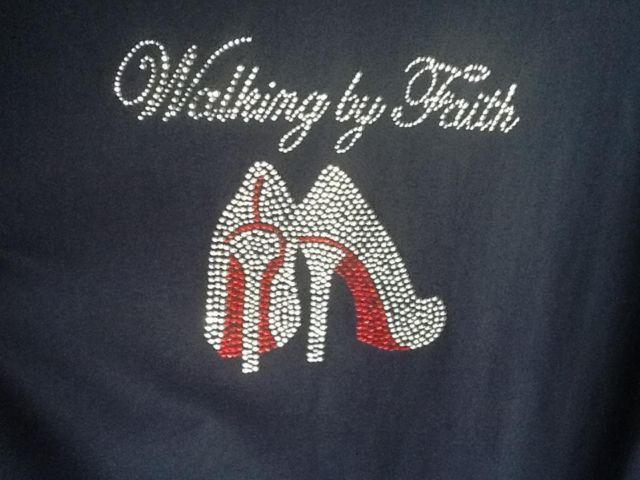 Custom Rhinestone T Shirt Walking By Faith For Sale In