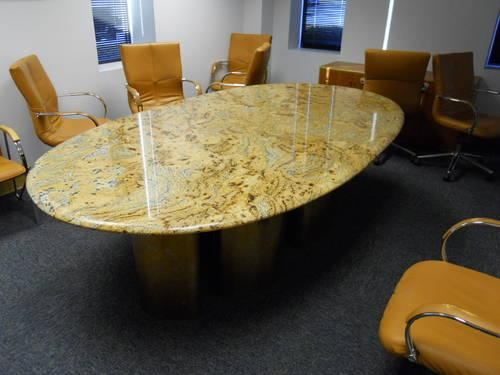 Custom Used Marble Conference Table With Gold Steel