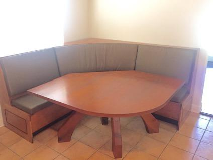 Custom Wood Dining Table With Corner Bench Seating