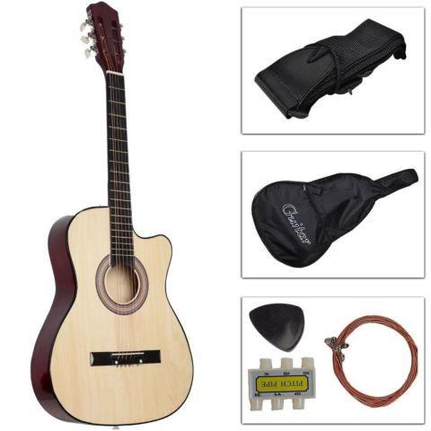 Cutaway Design Acoustic Guitar W/Case Strap Tuner Pick