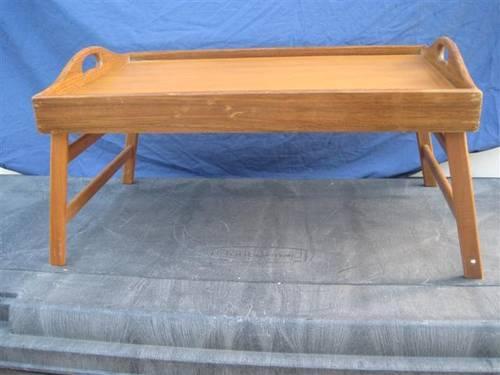 Danish Modern Style Teak Wood Folding Bed Serving Tray For