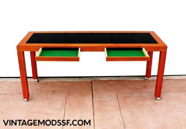 Danish teak console table writing desk mid century for for Mid century furniture san francisco