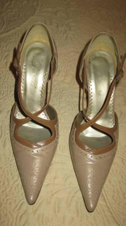 Dark Beige w/medium brown Leather Pump shoes - BRAND