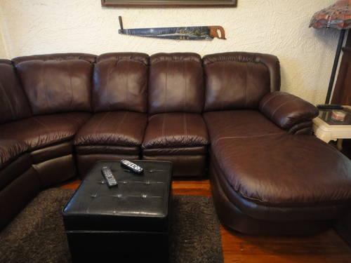 Dark-brown Leather Sectional Couch