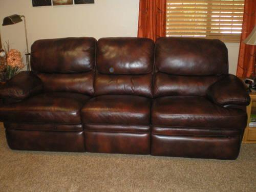 Dark Brown Leather Sofa Amp Loveseat Recliner Set For Sale