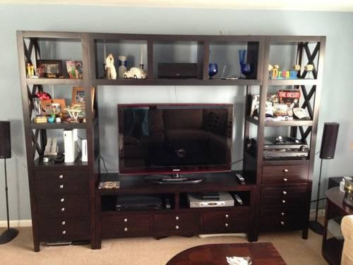 Dark Brown Wall Unit Entertainment Center Tv Stand For
