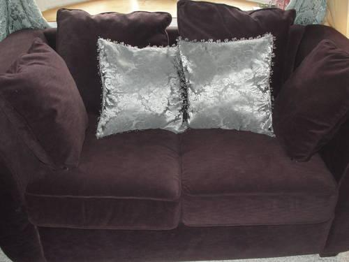 Dark Purple Sofa And Loveseat With Coffee And End Table
