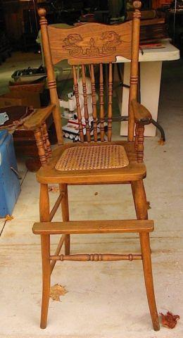 Darling Solid Oak Fancy Child 39 S High Chair With Woven Seat For Sale In Co