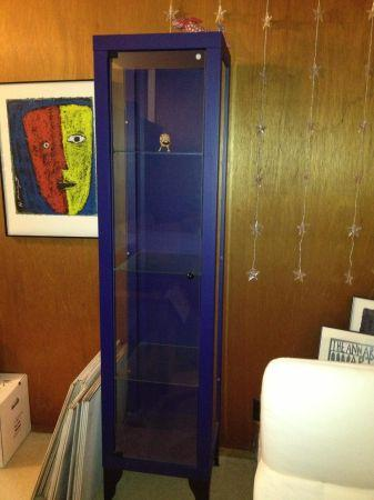 Deep Blue Ikea Glass Display Cabinet For Sale In Half
